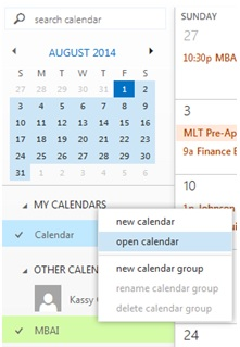 Office 365 Calendar Screenshot